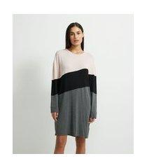 camisola manga longa em viscolycra com recortes bloco de cor | lov | cinza médio | m