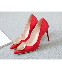 pp413 elegant high-heeled pump w gold plate top, us size 1-9.5,red
