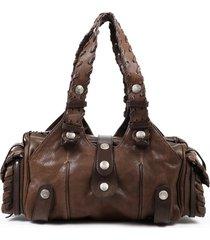 chloe silverado brown gray leather shoulder bag brown/gray sz: m
