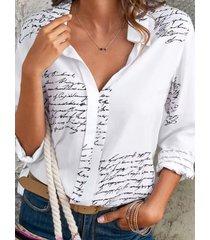 botón con estampado de letras diseño classic blusa de manga larga con cuello
