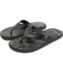 sandalia flip flop negro-verde-beige colore