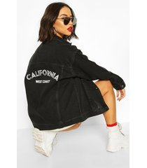 festival slogan oversized jean jacket, black