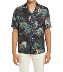 allsaints thicket short sleeve button-up shirt, size medium in jet black at nordstrom