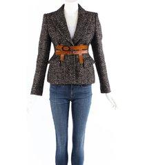 tom ford black wool tweed leather belted blazer jacket black/brown sz: xs