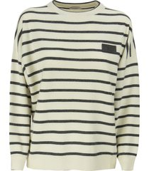 brunello cucinelli virgin wool, cashmere and silk striped sweater with precious patch