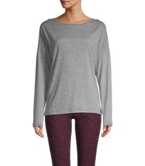 nine west women's essential long-sleeve top - stormy grey - size l