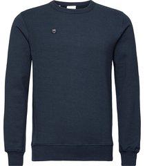 elm owl badge sweat - gots/vegan sweat-shirt tröja blå knowledge cotton apparel