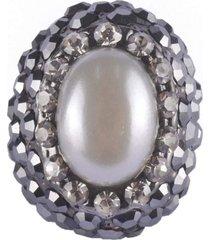 anel armazem rr bijoux com pérola e cristal grafite