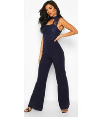 high neck lace 2 in 1 jumpsuit, navy