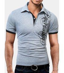 maglietta girocollo a manica corta con stampa lettera sottile camicie da golf casual da uomo