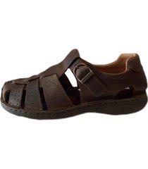 sandalia de cuero marrón ringo flex