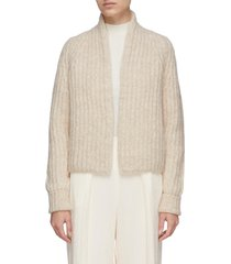 high neck crop alpaca blend rib knit cardigan
