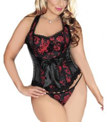 icollection women's plus size 2 piece halter brocade and satin floral corset and panty set