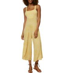 women's o'neill alba wide leg crop jumpsuit, size x-small - yellow