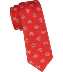 canali men's floral medallion silk tie - orange