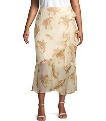 plus paisley-print ruffled wrap skirt