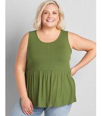 lane bryant women's ribbed scoop-neck babydoll swing tank bronze green