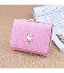 billetera mujeres- cartera de mujer monedero corto mini-rosa