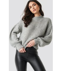 na-kd trend wide rib short knitted sweater - grey