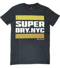 superdry stevig zacht slim fit t-shirt washed black - valt 1 maat kleiner