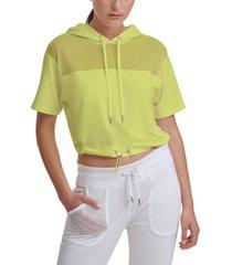 dkny sport mesh-trim hooded top