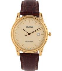 reloj vinotinto-dorado orient