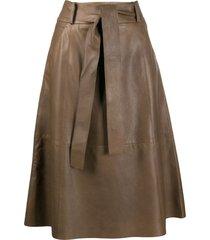 luisa cerano tie-waist a-line skirt - brown