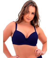1 suti㣠plus size reforã§ado cor lisa soutien bojã£o lingerie azul marinho - azul marinho - feminino - dafiti