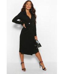 midi wikkel blazer jurk met ceintuur, zwart