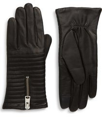 women's allsaints estella quilted leather touchscreen gloves, size medium - black