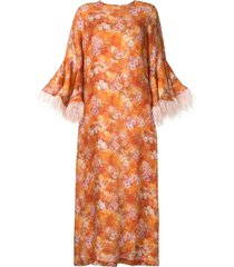 bambah camelia feather trim dress - orange