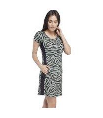 camisáo feminino curto zebra lounge com bolso