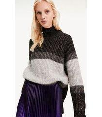 tommy hilfiger women's metallic stripe sweater grey stripe - m