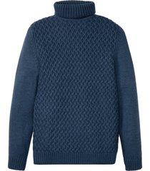 maglione a collo alto con lavorazione a trecce (blu) - john baner jeanswear