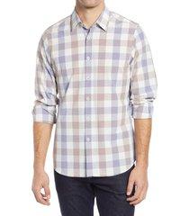 men's move performance apparel trim fit check button-up shirt, size x-large r - blue