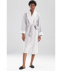 faux fur trim sleep/lounge/bath wrap/robe, women's, silver, size l, n natori