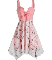 bowknot ruffle flower branch printed irregular dress