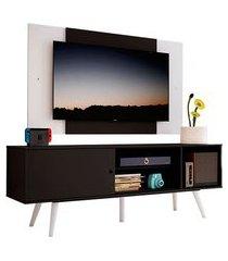 rack madesa cairo e painel para tv até 58 polegadas com pés de madeira preto/branco 8nc7 mdes0200188nc7