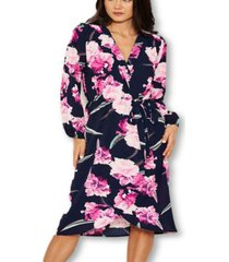 ax paris women's floral wrap-over dress
