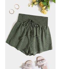 shorts de cintura con cordón y fruncido de lunares yoins