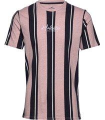 tech logo stripes t-shirts short-sleeved hollister