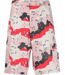 stone island bermuda abstract print shorts - pink