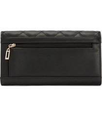 guess women's illy pocket trifold wallet - black