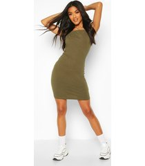 90's neck mini bodycon dress, khaki