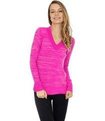 blusa de tricô pink tricot manga longa suéter mesclado feminino