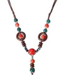 vintage donna collana lunga etnica da maglione con pendente di perline in ceramica di