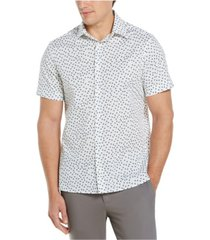 men's stretch micro blocks print short sleeve button-down shirt