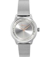 london - orologio da polso solo tempo con cassa in acciaio e strass e cinturino in acciaio a maglia milanese color silver per donna