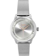orologio solo tempo con cassa e cinturino in acciaio maglia milanese con strass - 1661139 per donna