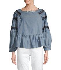 embellished raglan-sleeve denim top
